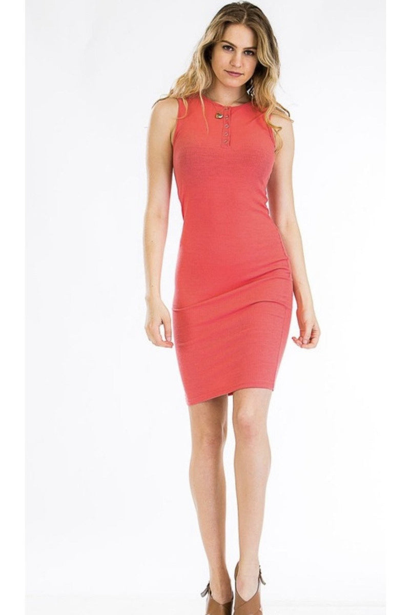 Jessie Ribbed Henley Dress in Coral $26