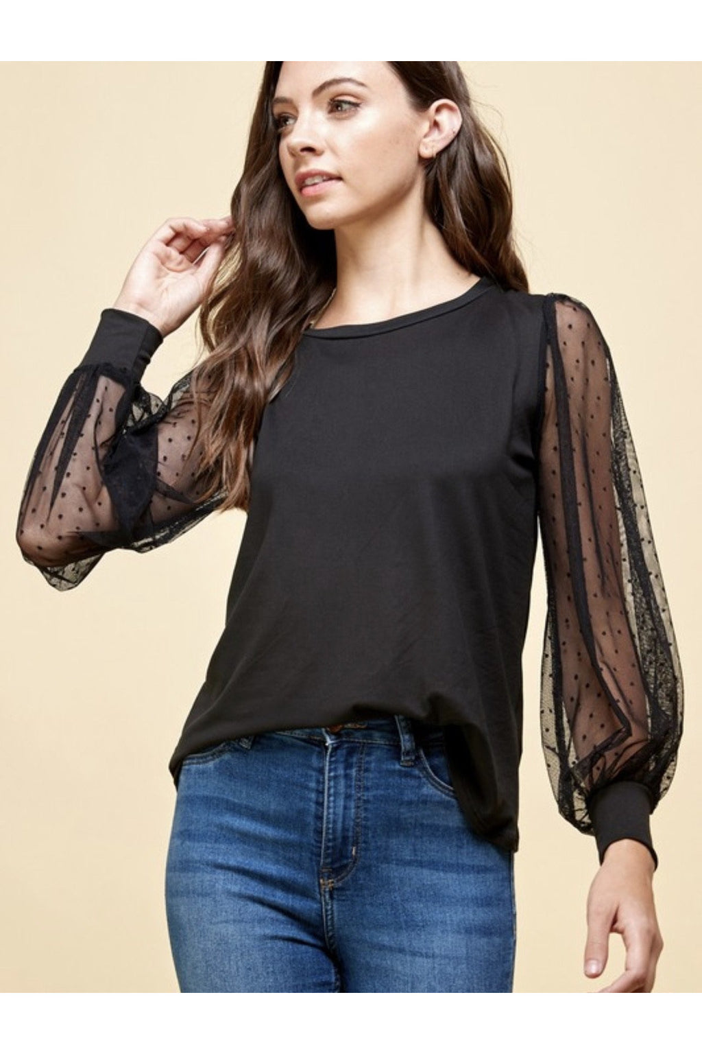 Kayla Sheer Sleeve Top in Black