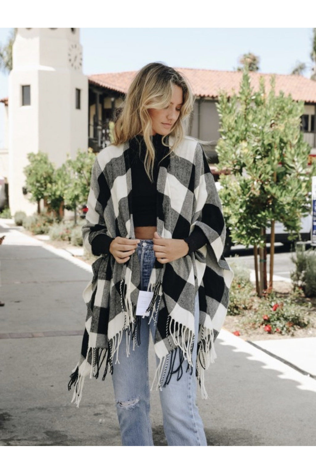 Houston Buffalo Check Tassel Poncho