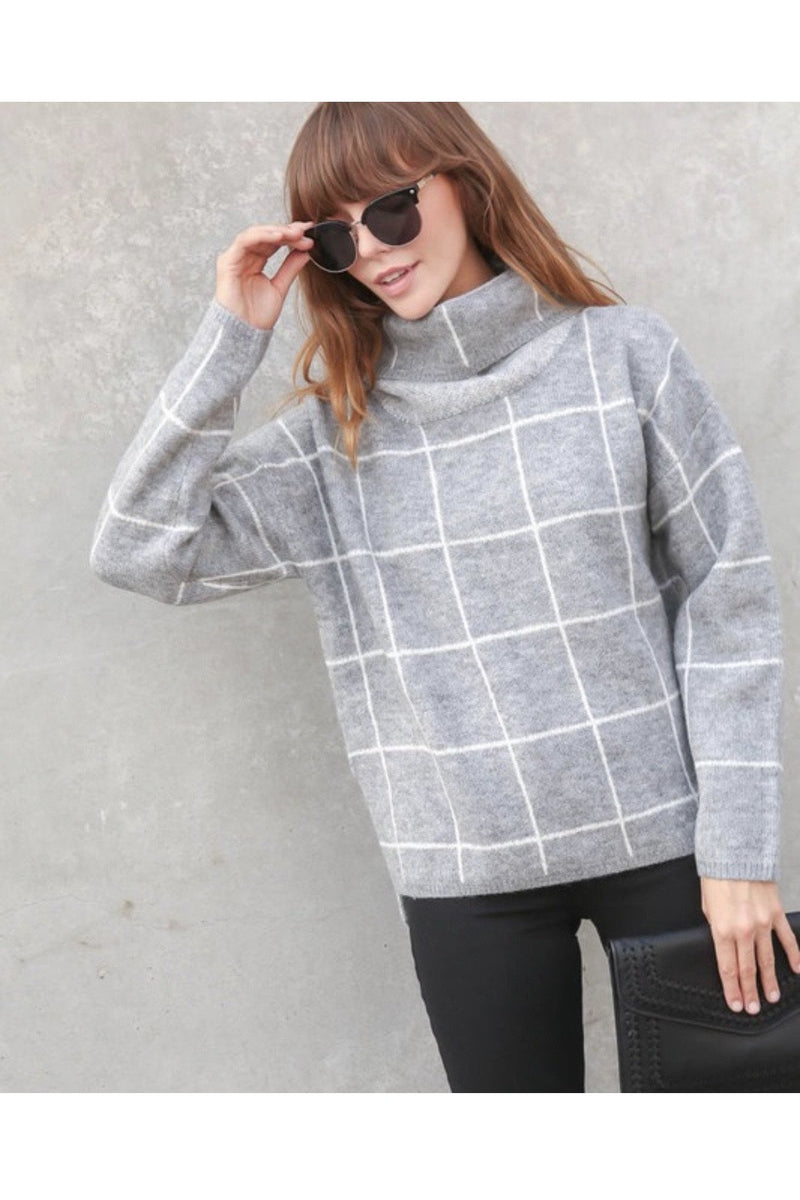 Bronx Grid Turtleneck Sweater in Grey