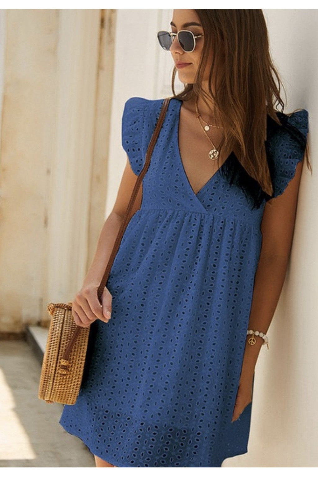 Emily Eyelet Dress in Blue