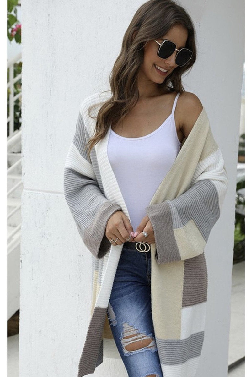 Stacia Colorblock Cardigan in Grey