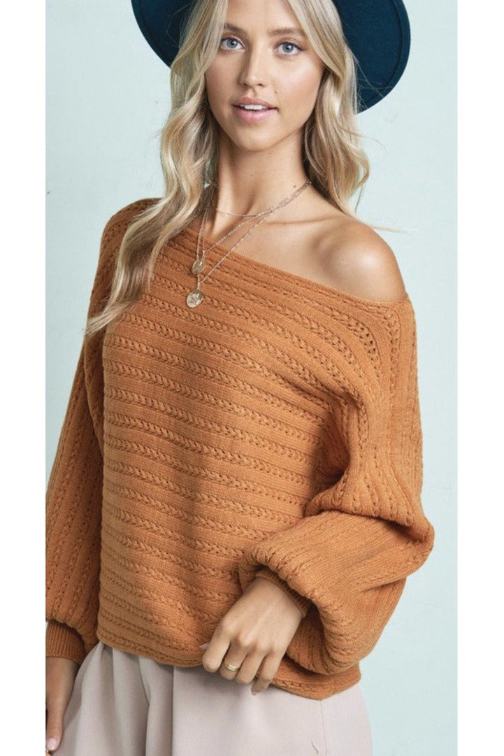 Andraina Off The Shoulder Sweater in Ginger