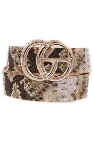 GG Belt in Brown/Matte gold