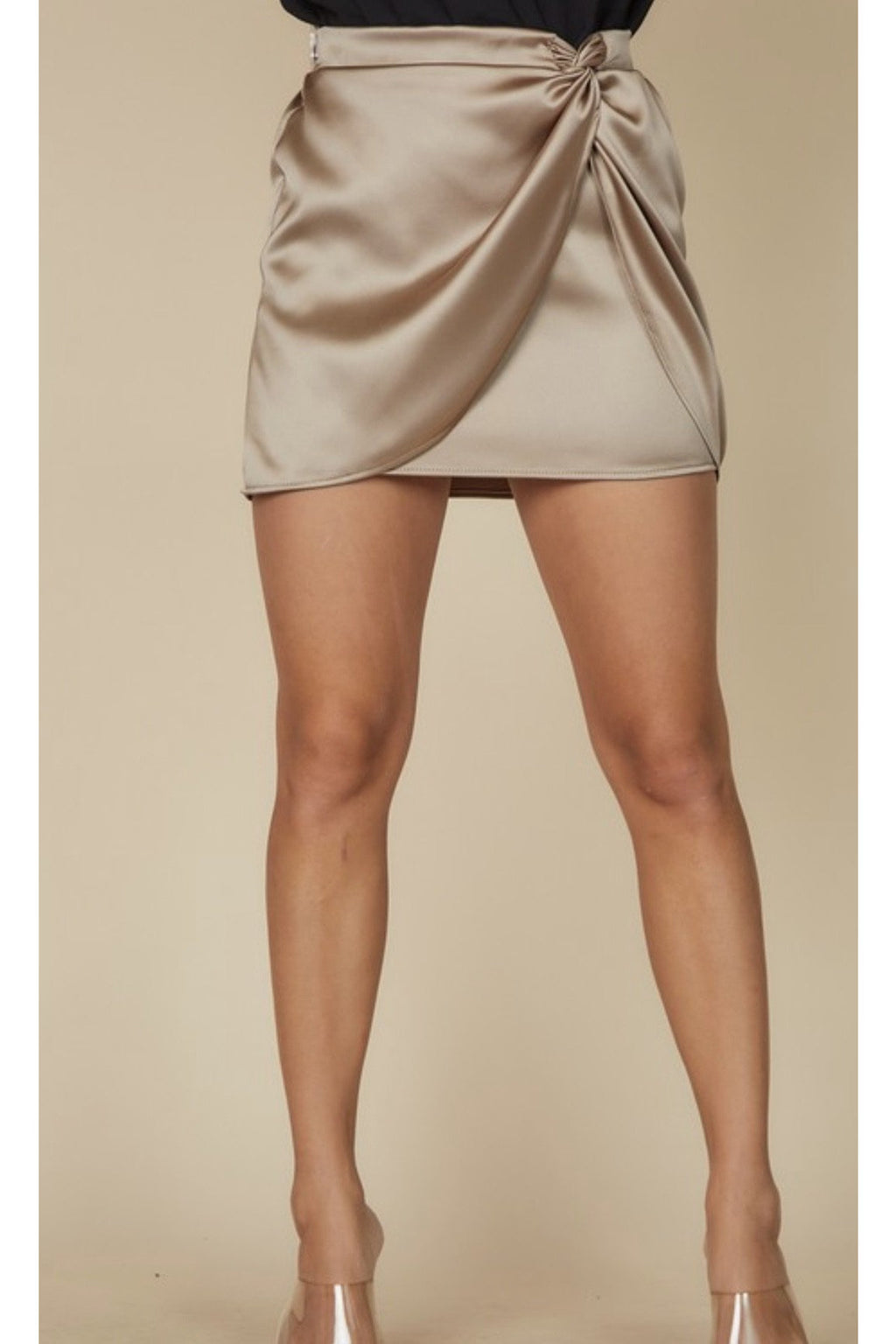 Jewel Satin Wrap Skirt in Toast