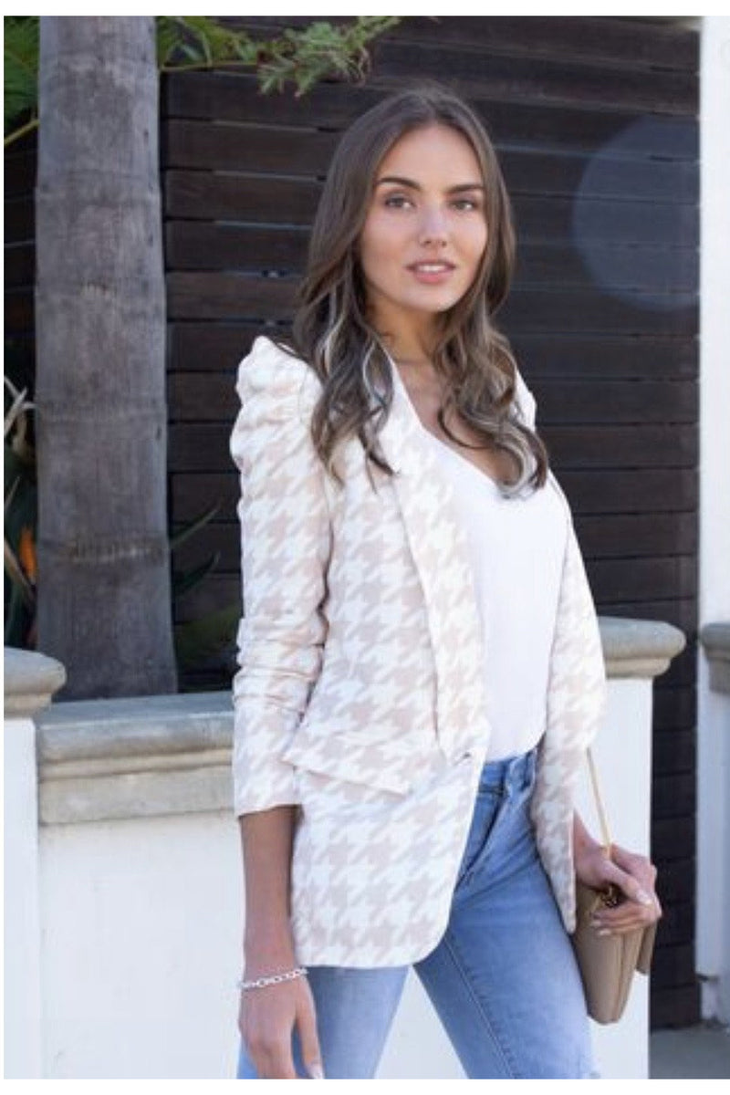 Hensley Houndstooth Puff Sleeve Blazer $68