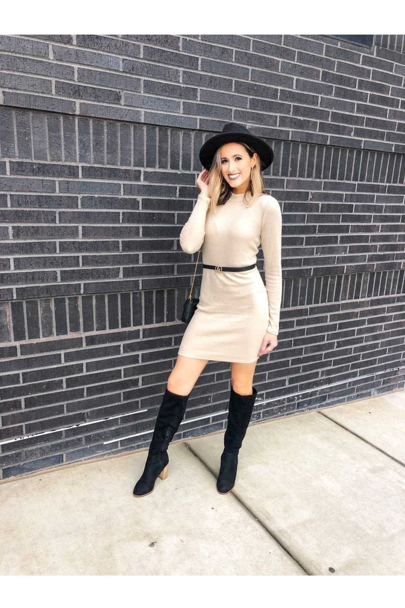 Isabella Mini Dress in Latte