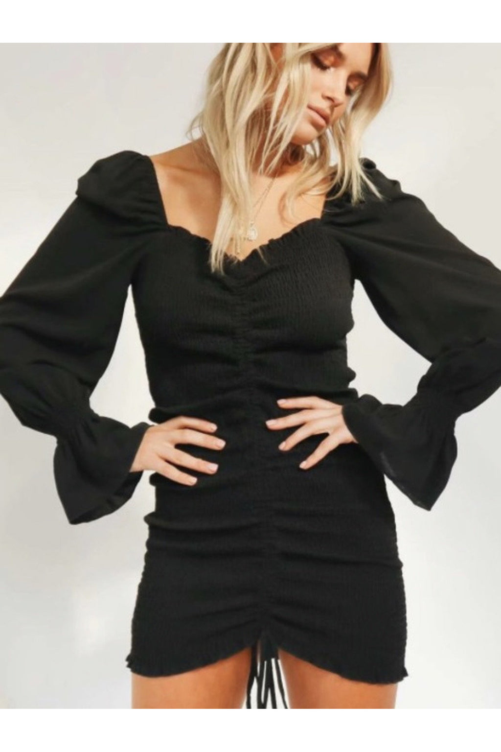Amalia Sweetheart Dress in Black $48