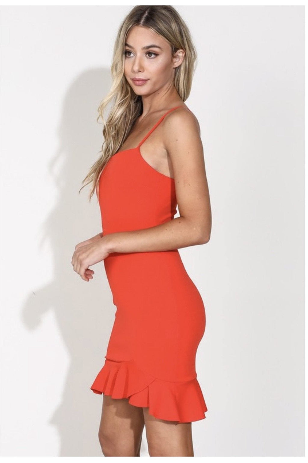 Carmen Mini Dress in Coral