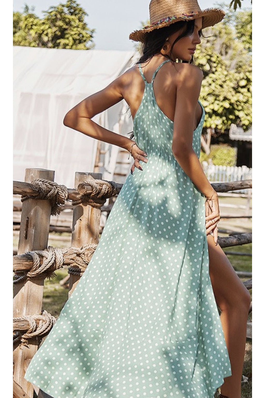 Monica Polka Dot Maxi Dress $48