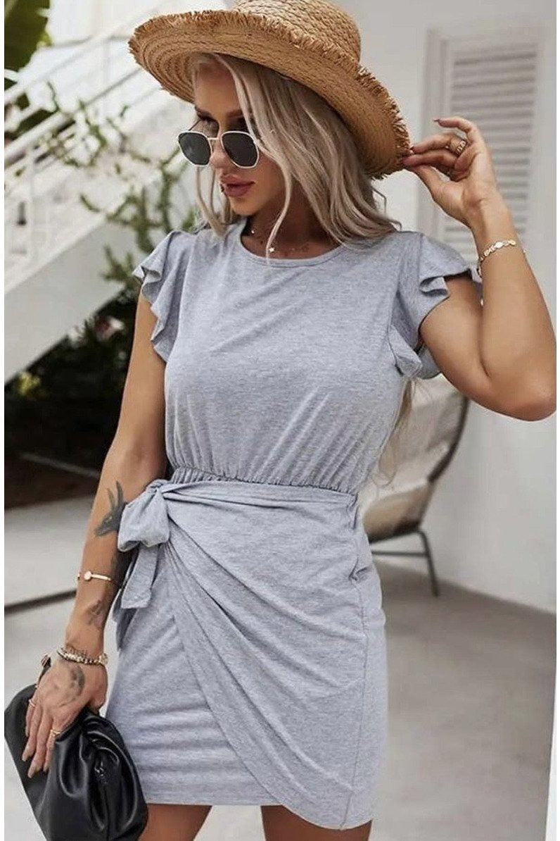 Emma Wrap Mini Dress in Grey $44