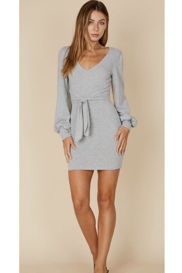 Brooke Waist tie mini Dress in Grey