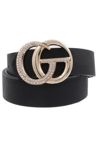 GG Belt in Black/Silver