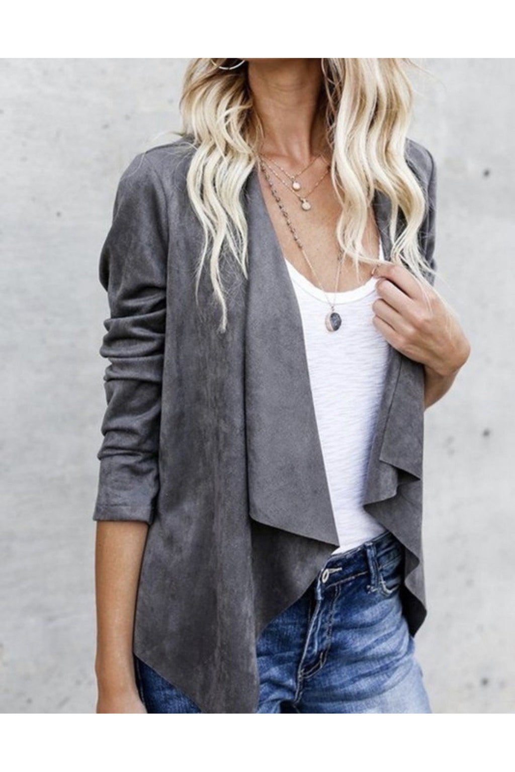 Sadie Suede Jacket in gray