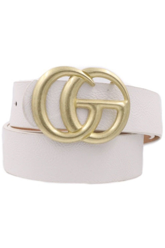 GG Belt in White/Matte Gold