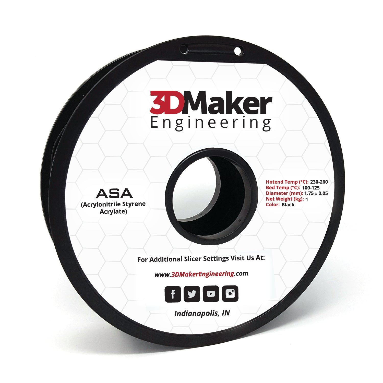 ASA Pro Series 3D Printer Filament 1.75mm