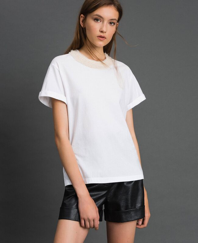 TT2562-T-SHIRT / Bianco - Ideal Moda