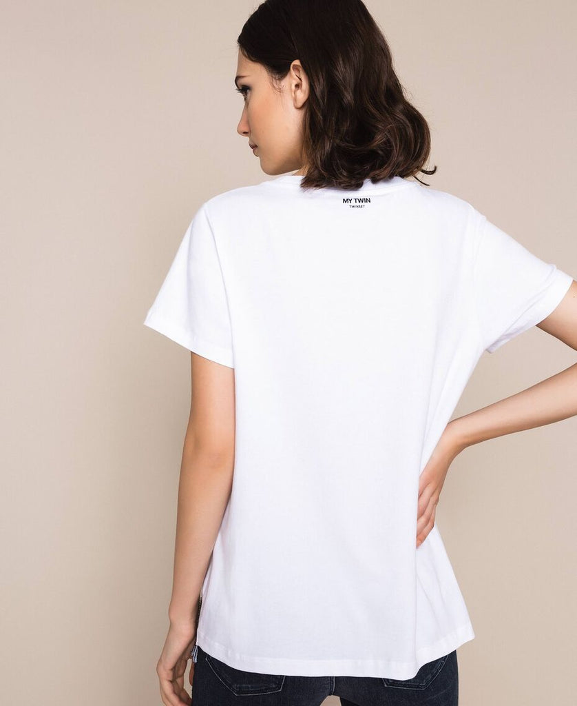 T-shirt con paillettes e strass / Bianco - Ideal Moda