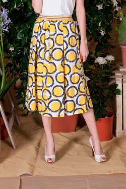 Gonna di cotone in fantasia / Giallo - Ideal Moda