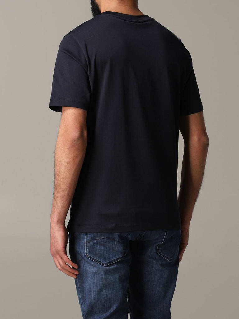 T-Shirt in jersey mercerizzato con stampa logo / Blu - Ideal Moda