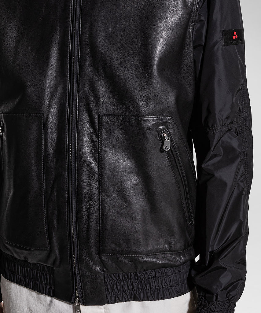 Bomber in pelle e nylon / Nero