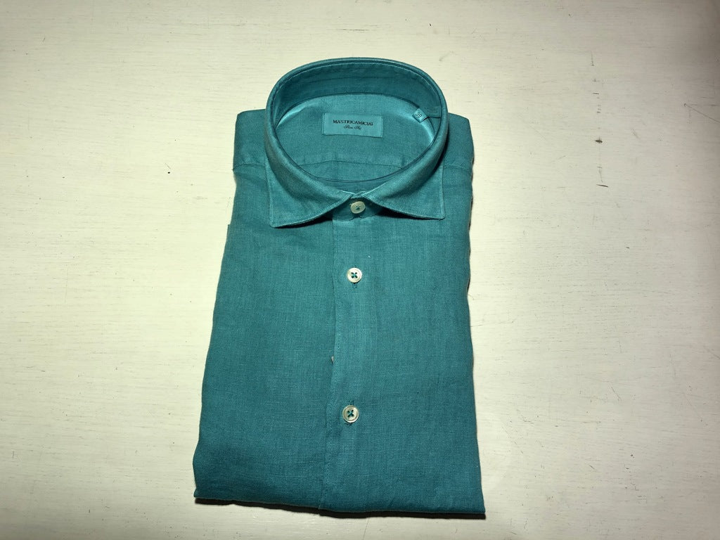 Camicia 100% lino Slim Fit / Turchese - Ideal Moda