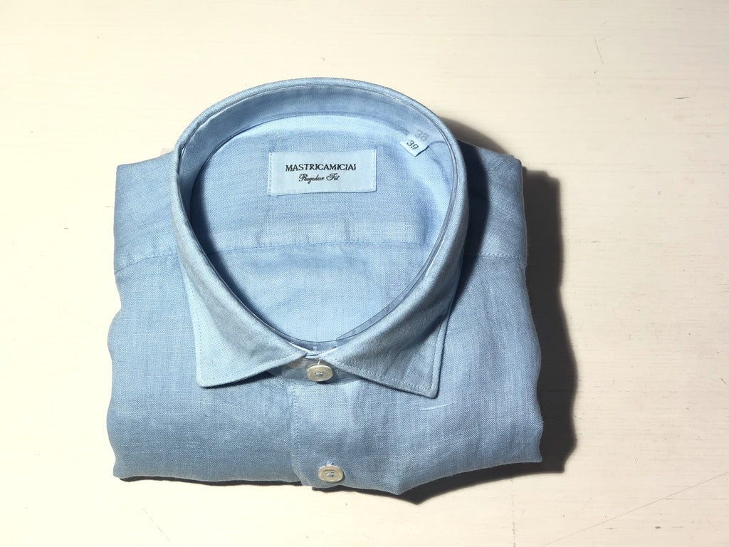 Camicia 100% lino Regular Fit  / Celeste - Ideal Moda