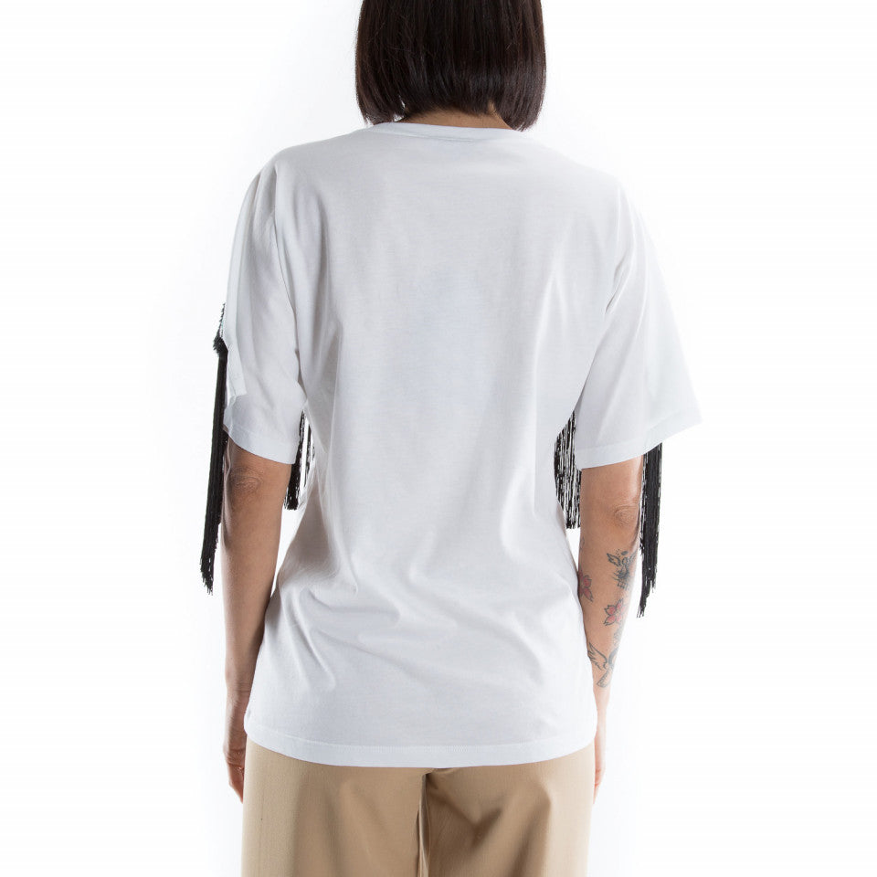 T-Shirt over bianca con frange / Bianco - Ideal Moda