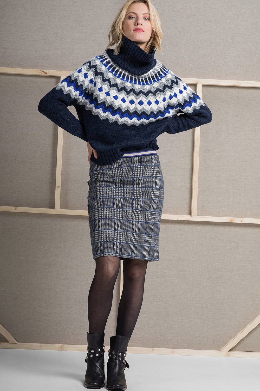 Greta Skirt Check Navy