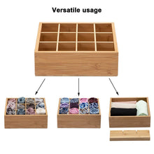 Load image into Gallery viewer, Discover the best gobam tie and belt organizer box closet underwear storage box drawer divider for bras briefs socks and mens accessories compartments of 12 natural bamboo