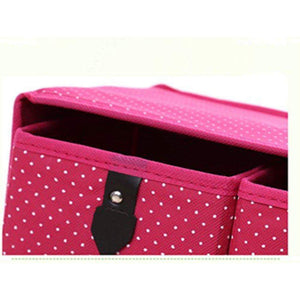 Latest diffstyle cute bowknot dot printing non woven thickening three layer five drawer foldable collapsible classified storage box container organizer for underwear socks and any accessories pink