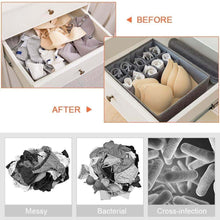 Load image into Gallery viewer, Heavy duty leefe drawer organizer with lids 2 pack foldable divider organizers closet underwear storage box for sortin socks bra scarves and lingerie in wardrobe or under bed breathable washable linen fabric
