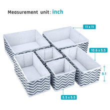 Load image into Gallery viewer, Order now storage bins ispecle foldable cloth storage cubes drawer organizer closet underwear box storage baskets containers drawer dividers for bras socks scarves cosmetics set of 6 grey chevron pattern