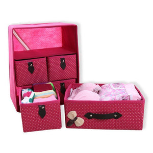 Online shopping diffstyle cute bowknot dot printing non woven thickening three layer five drawer foldable collapsible classified storage box container organizer for underwear socks and any accessories pink