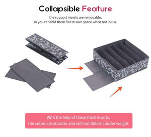 Organize with onlyeasy set of 4 closet underwear organizer drawer dividers foldable cloth storage boxes for bras socks underwears briefs ties scarves grey classic mnclss4p