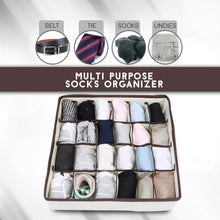 Load image into Gallery viewer, Selection skyugle sock organizer underwear drawer divider 24 cell collapsible closet foldable clothes tie handkerchief wardrobe cabinet storage boxes beige 2 packs 1 mesh laundry bag for sock underwear