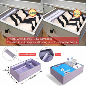 Latest drawer organizer clothes dresser underwear organizer washable deep socks bra large boxes storage foldable removable dividers fabric basket bins closet t shirt jeans leggings nursery baby clothing gray