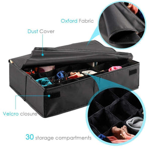 Latest mifxin underwear socks storage organizer drawer divider 30 cell foldable closet drawer organizer storage box bin for socks bras underwear ties with dust moisture proof cover black
