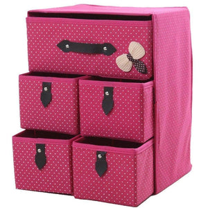 Kitchen diffstyle cute bowknot dot printing non woven thickening three layer five drawer foldable collapsible classified storage box container organizer for underwear socks and any accessories pink