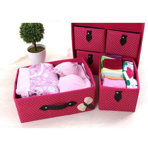 Order now diffstyle cute bowknot dot printing non woven thickening three layer five drawer foldable collapsible classified storage box container organizer for underwear socks and any accessories pink