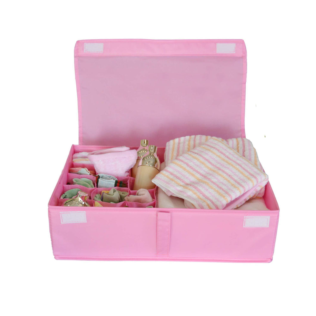 Discover the ishealthy underwear drawer storage organizer with cover oxford fabric 2 in 1 washable and foldable storage box closet divider for bras socks ties scarves and handkerchiefs pink