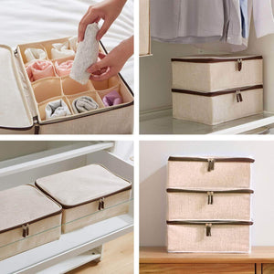 Get underwear and socks organizer with lid for women set of 3 foldable drawer storage boxes for sorting storage socks bra underwear beige