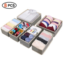 Load image into Gallery viewer, Top rated dresser drawer organizer 8 pcs foldable storage box fabric closet storage cubes clothes storage bins drawer dividers storage baskets for bras socks underwear accessories home office bedroom