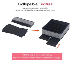Exclusive onlyeasy closet underwear organizer drawer divider set of 4 foldable cloth storage boxes bins under bed organizer for bras socks panties ties linen like black mxass4p