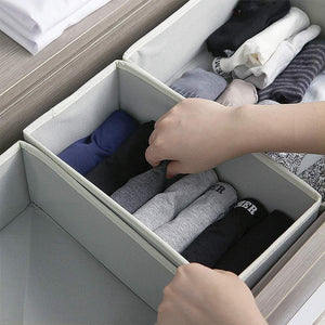 Home diommell foldable cloth storage box closet dresser drawer organizer fabric baskets bins containers divider with drawers for baby clothes underwear bras socks lingerie clothing set of 12 grey 444