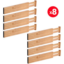 Load image into Gallery viewer, Save moma bamboo drawer dividers set of 8 bamboo natural wood kitchen drawer organizer anti scratch desk organizer dresser silverware utensil drawer organizer underwear drawer organizer