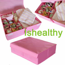 Load image into Gallery viewer, Featured ishealthy underwear drawer storage organizer with cover oxford fabric 2 in 1 washable and foldable storage box closet divider for bras socks ties scarves and handkerchiefs pink
