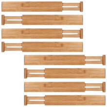 Load image into Gallery viewer, Shop here moma bamboo drawer dividers set of 8 bamboo natural wood kitchen drawer organizer anti scratch desk organizer dresser silverware utensil drawer organizer underwear drawer organizer