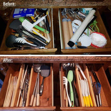 Load image into Gallery viewer, Select nice moma bamboo drawer dividers set of 8 bamboo natural wood kitchen drawer organizer anti scratch desk organizer dresser silverware utensil drawer organizer underwear drawer organizer