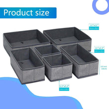 Load image into Gallery viewer, Great onlyeasy foldable cloth storage box closet dresser drawer organizer cube basket bins containers divider with drawers for scarves underwear bras socks ties 6 pack linen like grey mxdcb6p